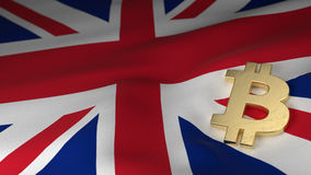 Bitcoin-Währungszeichen auf Flagge von Vereinigtem Königreich Lizenzfreies Stockbild