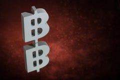 Bitcoin-Währungszeichen mit Spiegel-Reflexion auf rotem Dusty Background stockfoto