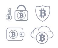 Bitcoin wallet in the cloud protection. Set icon. Sync and storage. Line style Stock Image