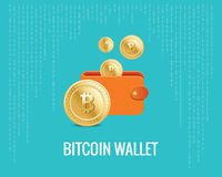 Bitcoin wallet illustration with coin icons on the digital blue background. Stock Image