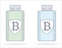 Bitcoin wallet. Usb flash drive. Cartoon style. Royalty Free Stock Images