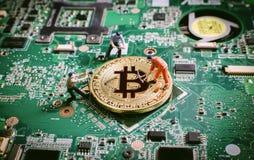 Bitcoin waluty blockchain crytocurrencies cyfrowy pojęcie obrazy stock