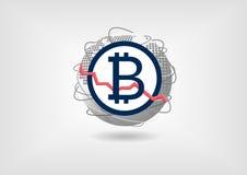 Bitcoin waluty spadku pojęcie jako ilustracja Zdjęcia Royalty Free