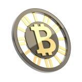 Bitcoin waluty symbolu moneta odizolowywająca Obrazy Royalty Free