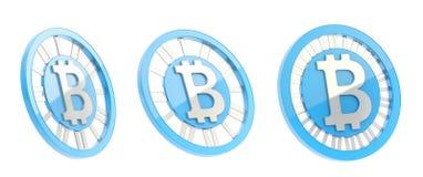 Bitcoin waluty symbolu moneta odizolowywająca Zdjęcia Royalty Free