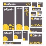 Bitcoin waluty sztandaru cyfrowy set Sztandary dla bitcoin, rynku papierów wartościowych i biznesu, inwestować, robi pieniądze, z Zdjęcie Stock
