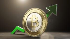 Bitcoin wartość wzrasta up 3 d czynią Zdjęcie Stock