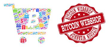 Bitcoin Webshop Collage of Mosaic and Grunge Stamp for Sales vector illustration