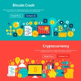 Bitcoin Website Banners. Vector Illustration for Web Header. Cryptocurrency Flat Design Stock Photo