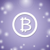 Bitcoin white icon on violet background. Virtual bit coin payment system. Stock Photography