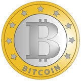 Bitcoin white Royalty Free Stock Photo