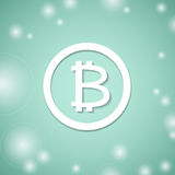 Bitcoin white symbol. Bit coin banking system. Crypto currency technology. Bitcoin white symbol on blue background. Bit coin banking system. Crypto currency Royalty Free Stock Photography