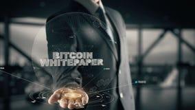 Bitcoin Whitepaper met het concept van de hologramzakenman stock videobeelden