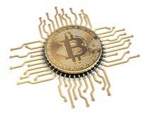 Bitcoin wie ein CPU-Computerprozessor lokalisiert auf weißem backgro Stockbild