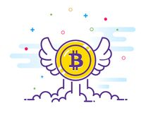 Bitcoin with wings flat illustration. Bitcoin icon flying in the sky. Crypto currency bit coin. Cryptocurrency emblem. Web and Internet money logo. Vector Royalty Free Stock Photo