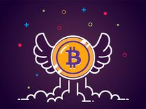Bitcoin with wings flat illustration. Bitcoin icon flying in the sky. Crypto currency bit coin. Cryptocurrency emblem. Web and Internet money logo. Vector Stock Image