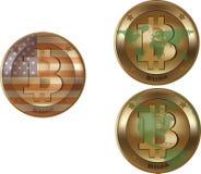 Bitcoin wirtualna waluta dla międzynarodowej pozyci obrazy royalty free