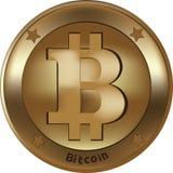 Bitcoin wirtualna waluta dla międzynarodowej pozyci i gra wymieniamy obraz stock