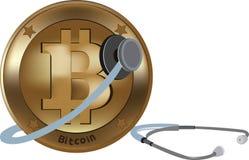 Bitcoin wirtualna waluta dla międzynarodowej pozyci z stetoskopem ilustracja wektor