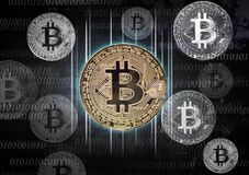 Free Bitcoin With Binary Signs Royalty Free Stock Image - 112565136