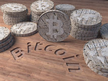 Bitcoin Wood. 3D rendered wood bitcoin, the future of virtual currency Stock Photos