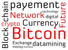 Bitcoin word cloud text. Bitcoin word cloud on a white background with lots of words all in the financial category Royalty Free Stock Photos