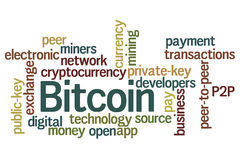 Bitcoin. Word cloud with white background royalty free illustration