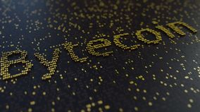 Bytecoin word made of moving golden numbers. Cryptocurrency mining or transactions related conceptual animation