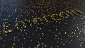 Emercoin word made of moving golden numbers. Cryptocurrency mining or transactions related conceptual animation