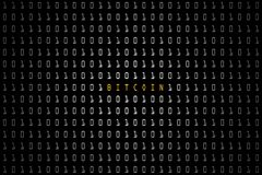 Bitcoin word with technology digital dark or black background with binary code in white color 1001. Bitcoin word with technology digital dark or black vector illustration