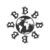 Bitcoin in world. Cryptocurrency and earth. Business icon. Finan Royalty Free Stock Image