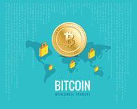 Bitcoin worldwide payment illustration with world map and lock icons on the digital blue background. Stock Image