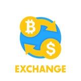 Bitcoin wymiany ikona nad bielem Fotografia Royalty Free