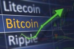 Bitcoin wzrastająca cena na wekslowej mapie i zysk od inwestować Zysku finansowego i biznesu pojęcie Zdjęcie Stock