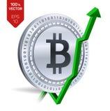 Bitcoin wzrost zieleń strzała zieleń Bitcoin wskaźnika ocena iść up na wekslowym rynku Crypto waluta 3D isometric Fizyczna Srebna royalty ilustracja