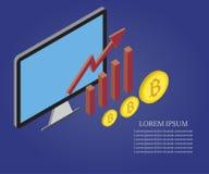 Bitcoin, wzrostowa mapa, komputer osobisty 2 ilustracja wektor