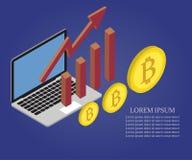 Bitcoin, wzrostowa mapa, laptop 2 royalty ilustracja