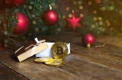 Bitcoin y Año Nuevo Imágenes de archivo libres de regalías