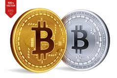 Bitcoin y efectivo de Bitcoin monedas físicas isométricas 3D Moneda de Digitaces Cryptocurrency Monedas de oro y de plata con el  libre illustration