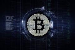Bitcoin y ejemplo del blockchain azul marino Fotos de archivo