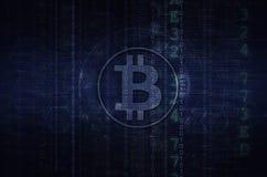 Bitcoin y ejemplo del blockchain azul marino Imagen de archivo
