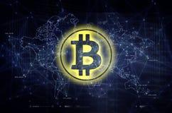 Bitcoin y ejemplo del blockchain azul marino Imágenes de archivo libres de regalías