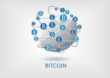Bitcoin y ejemplo del blockchain del World Wide Web conectado para la transferencia monetaria interna Foto de archivo
