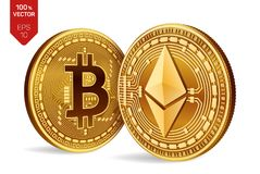 Bitcoin y ethereum monedas físicas isométricas 3D Moneda de Digitaces Cryptocurrency Monedas de oro con símbolo del bitcoin y del libre illustration