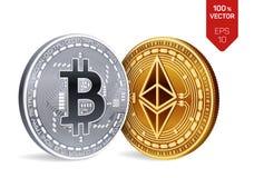 Bitcoin y ethereum monedas físicas isométricas 3D Moneda de Digitaces Cryptocurrency Monedas de oro y de plata con el bitcoin y e stock de ilustración