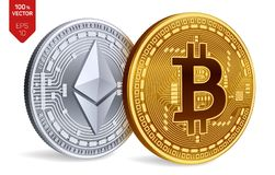 Bitcoin y ethereum monedas físicas isométricas 3D Moneda de Digitaces Cryptocurrency Monedas de oro y de plata con el bitcoin y e Fotografía de archivo libre de regalías