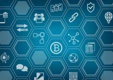 Bitcoin y fondo azul y gris del blockchain con la capa borrosa del horizonte y del polígono de la ciudad