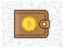 Bitcoin y la cartera Foto de archivo