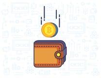 Bitcoin y la cartera Imágenes de archivo libres de regalías