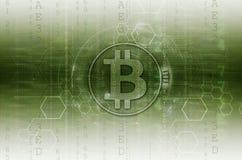 Bitcoin y verde del ejemplo del blockchain Imágenes de archivo libres de regalías